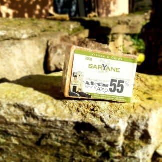 Savon d'Alep traditionnel avec 55% d'huile de baie de laurier. Vous pouvez acheter ce savon sur Savon-Alep.Shop. Photo CC BY SA Savon-Alep.Shop