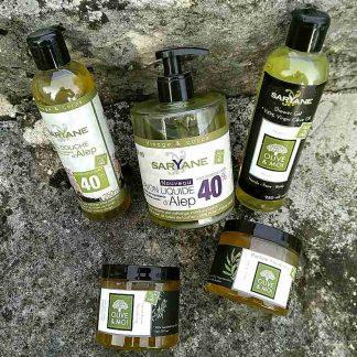 Savon d'Alep liquide, savon noir ou de hammam, savon liquide 100% huile d'olive
