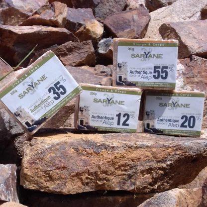 Lot Découverte - 4 Savons d'Alep traditionnels naturels de 12% à 55% d'huile de baie de laurier : Réduction de 5% !