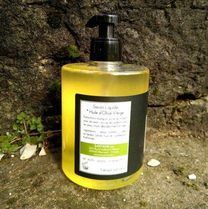 Savon 100% huile d'olive en gel liquide. 500 ml. Verso