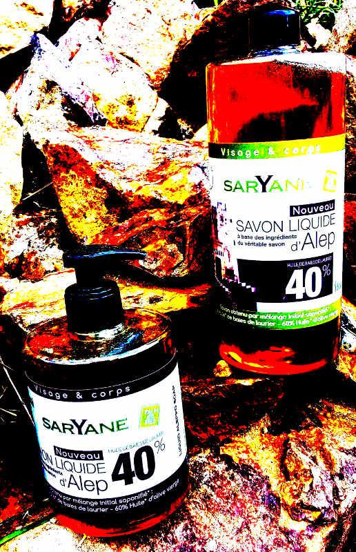 Savon d'Alep liquide à 40 % d'huile de baie de laurier - Bouteille à pompe 500ml + Recharge 1 litre