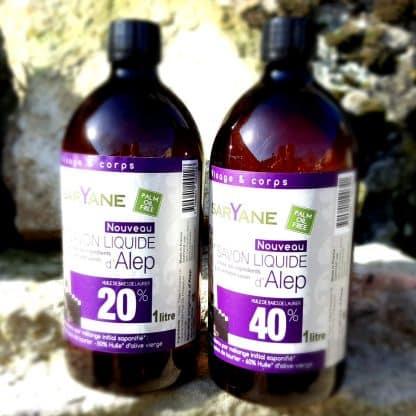 Lot Savon d' Alep liquide 40 & 20% d'huile de baie de laurier. Sans colorant, sans parfum. Pour tous types de peau. 2 Bouteilles de 1L. 28,90€