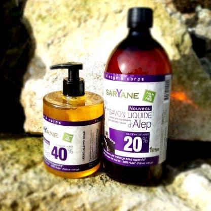 Lot Savon d'Alep liquide 40 & 20% d'huile de baie de laurier. Sans colorant, sans parfum. Pour tous types de peau. Bouteille pompe 500ml + 1L. 28,90€