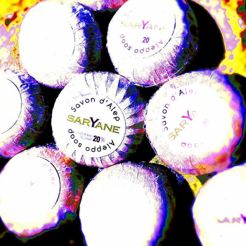 Savonnettes d' Alep à 20 % d'huile de baie de laurier. En lot de 5 & 10. Fabriquées à partir de savon d'Alep traditionnel sans colorant ni parfum ni additif