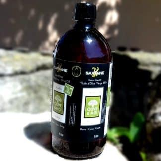 Savon 100% huile d'olive liquide. Sans colorant ni parfum. Tous types de peau. Bouteille de 1l vendue 16,90 € sur Savon-Alep.Shop.