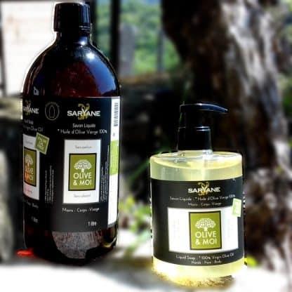 Savon liquide 100% Olive . Sans colorant ni parfum. Tous types de peau. Lot promotionnel Bouteille de 1l + bouteille à pompe de 500ml vendu 25,90 € sur Savon-Alep.Shop.